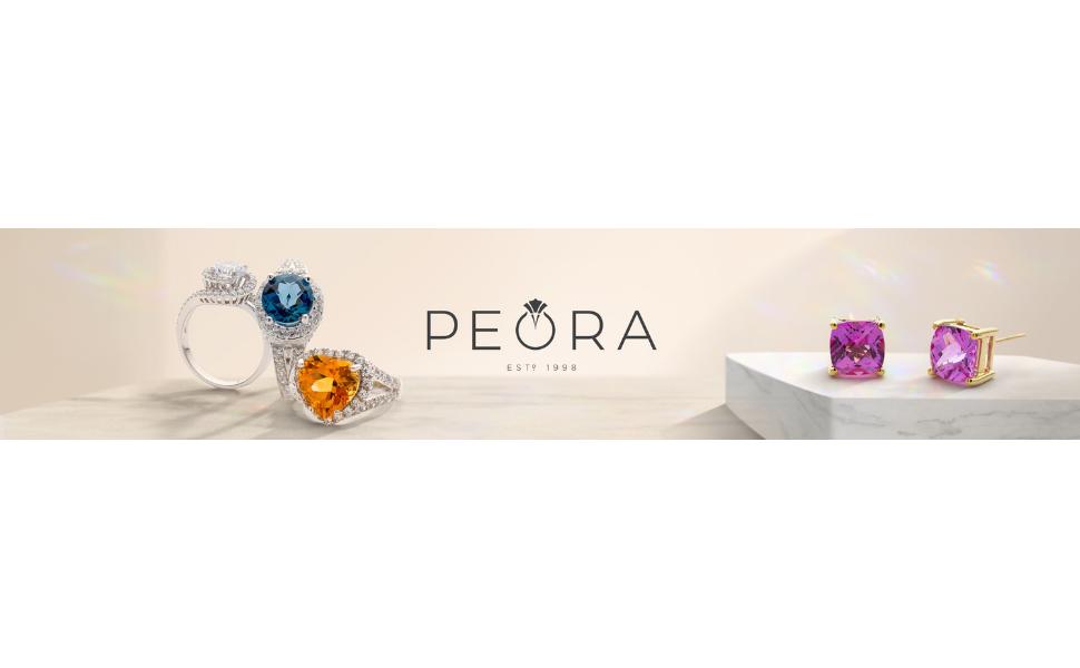 peora jewelry gemstone birthstone 14k gold sterling silver women ring pendant necklace earrings stud