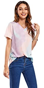 Women's Summer Short Sleeve Tie Dye T Shirts Casual Loose V Neck Basic Tee Tops S-2XL