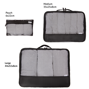 Black Packing cubes for suitcases Dimensions. Luggage organiser for travel backpacks closets