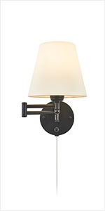 1 Light Swing Arm Wall Lamp with Opaque Trapezoid Ivory Linen Shade