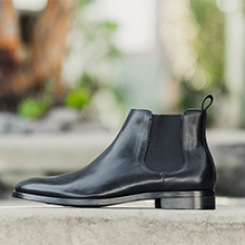 Business shoes, mens Chelsea boots with pull tabs