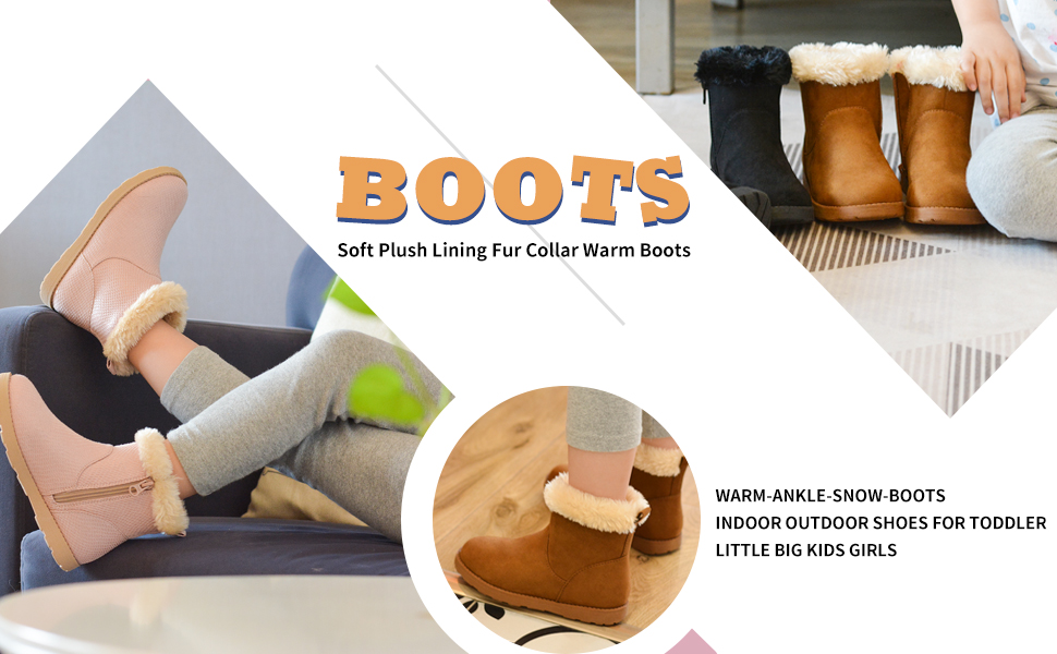 soft plush lining fur collar warm ankle boots