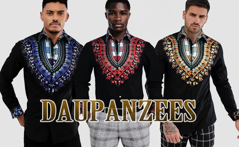 Mens African Metallic Print Dashiki Shirt Slim Fit Long Sleeve Dress Shirts Button Down Shirts
