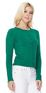 YEMAK Women's Long Sleeve Crewneck Button Down Casual Cardigan Sweater