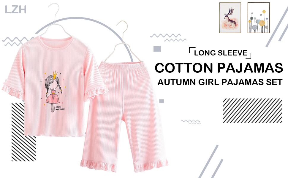 LZH 2PCS Girls Sleepwear Set 3//4 Sleeve Mermaid Princess Cotton Cute Nightwear Kids Clothes Set