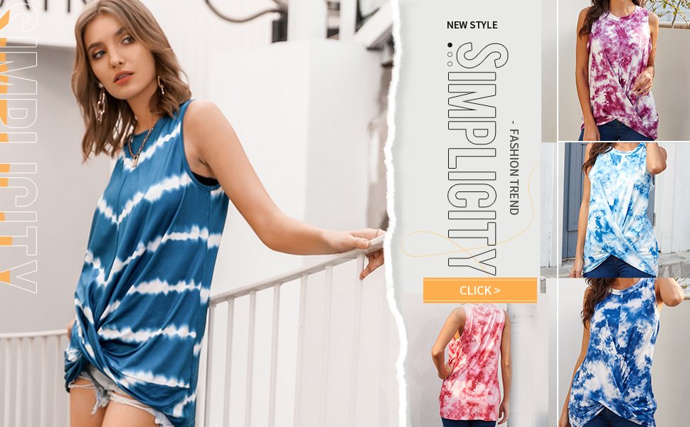 Womens Basics Sleeveless Shirts Summer Casual Loose Solid Color Tank Top Cute Twist Knot Tops