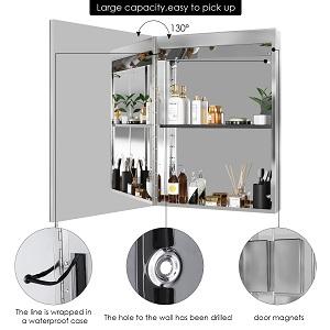 Homfa Specchio da Parete a LED per Specchio da Bagno in Acciaio Inossidabile Specchio da Parete per Specchio con sensore Touch Illuminato 50x13x72cm