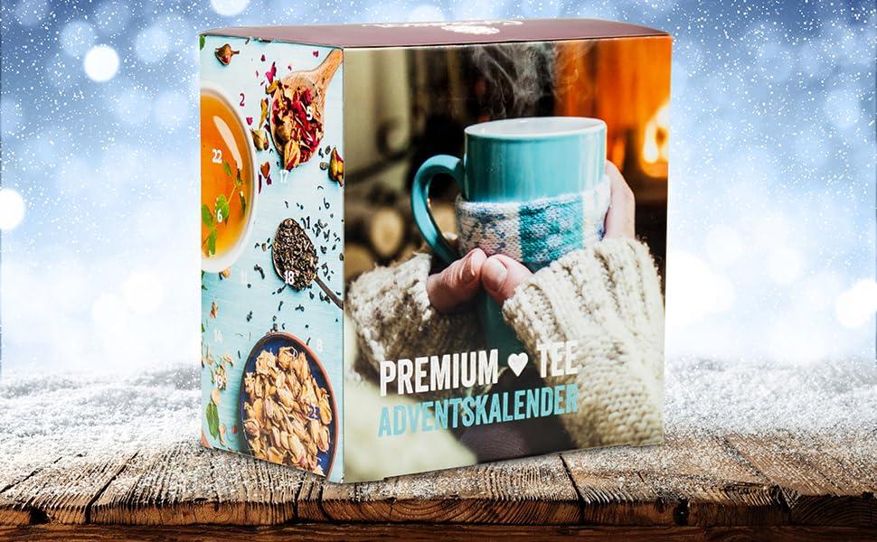 Calendrier de lavent du th/é Premium 2019 XXL id/ée cadeau pour hommes et femmes 24 th/és gourmands de No/ël 192 g de th/é en vrac