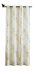 White Sheer Curtains Gold Branch Drapes