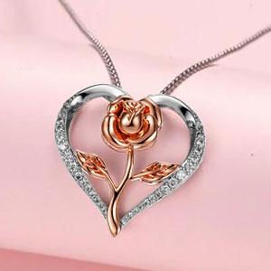 Klurent Rose Heart pendant Necklace for women