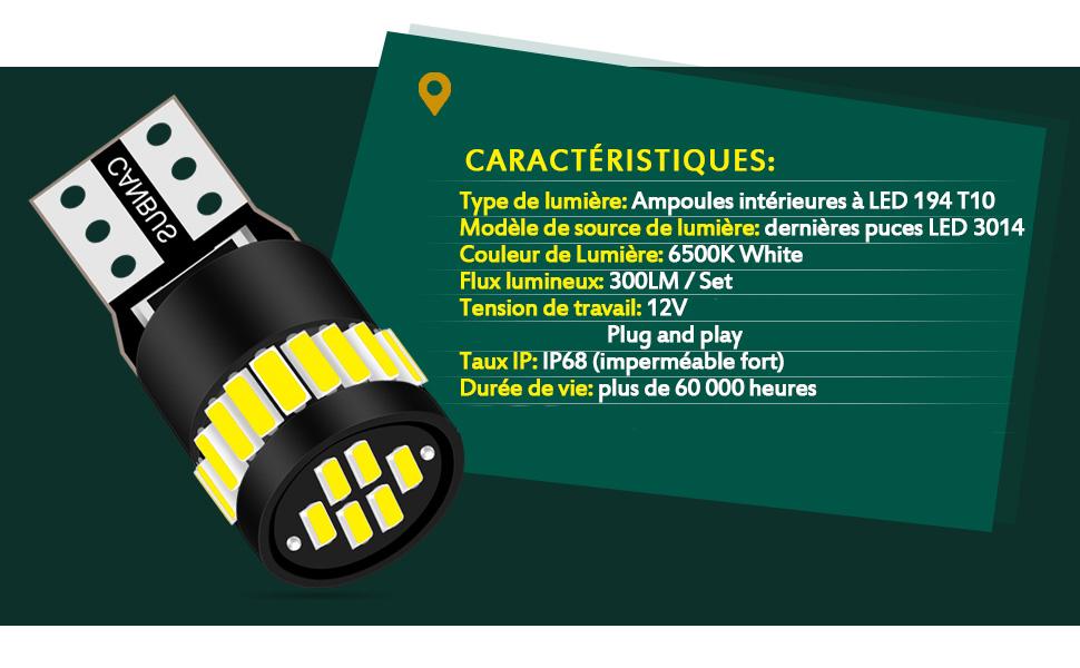 KaTur 194 ampoule LED 6000K blanc Extr/êmement lumineux 168 2825 W5W T10 Wedge 5630 Chipsets LED ampoules de rechange CANBUS sans erreur Lumi/ères de plaque dimmatriculation de porte de carte de d/ôme de voiture