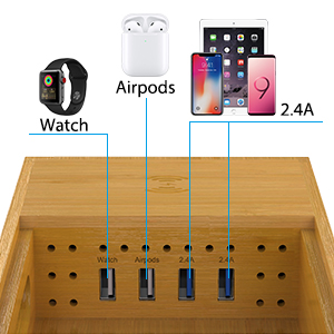CHGeek Bamboo Wireless Charger-Charging-Station-for-Multiple-Devices, Charging Dock for Apple Watch, AirPods. -Wireless-Charging-Pad Organizer for ...