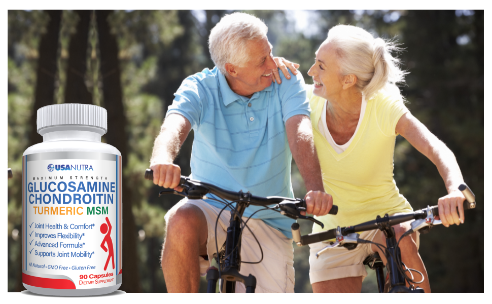 Happy Couple Riding Bicycles with USANUTRA Glucosamine Chondroitin Turmeric and MSM