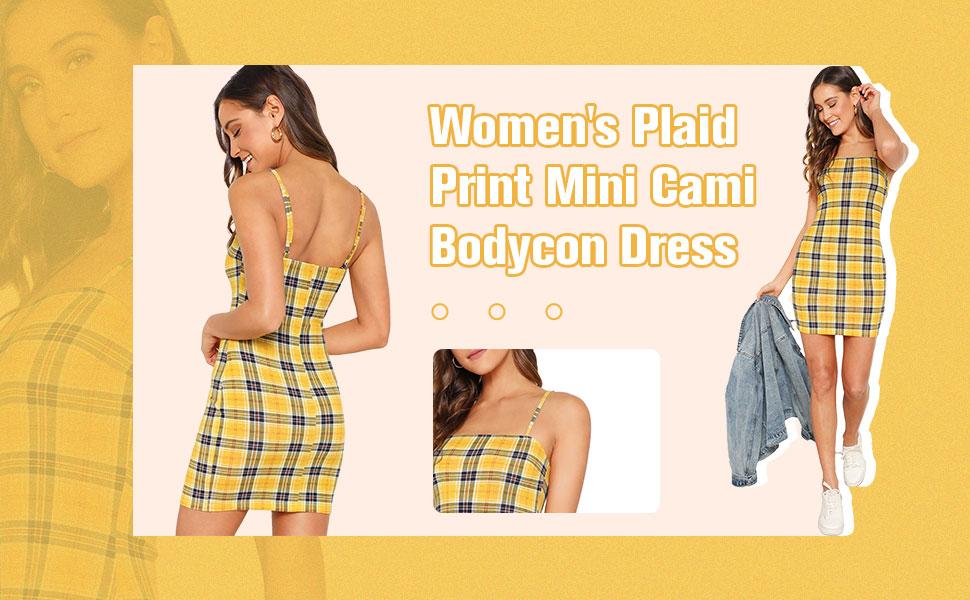 Floerns Women's Plaid Print Mini Cami Bodycon Dress