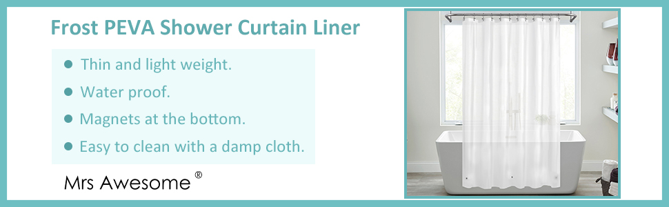 Frost PEVA thin and lightweight shower curtain liner