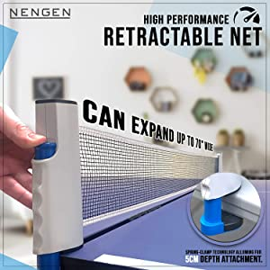 Retractable High Performance Ping Pong Net expandable clamp