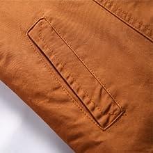 Vcansion Men's Winter Fleece Windproof Jacket Outerwear Single Breasted Classic Cotton Jacket Coats