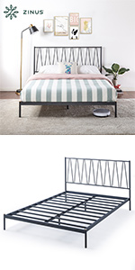 Gemma Navy Metal Bed with Gold Accents