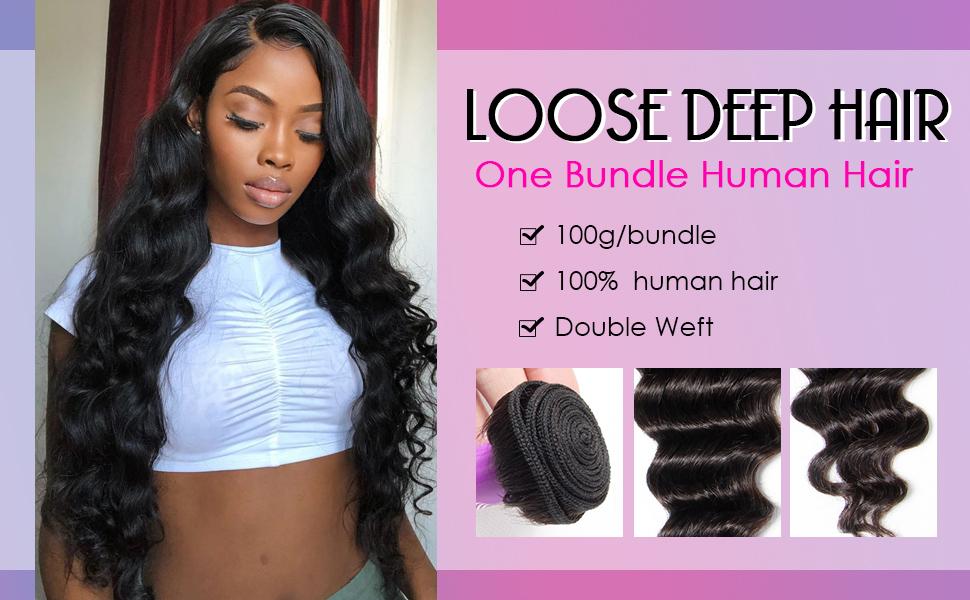 one bundle loose deep wave hair