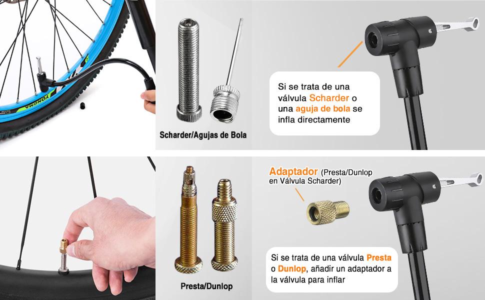 Audew Bomba Bicicleta Función Mano & Pie 160PSI Bomba Bicicleta Portátil Válvula Presta y Schrader para Carretera, Montaña, MTB, Patinete, Bicicleta Infantil y Balones: Amazon.es: Deportes y aire libre