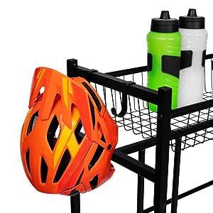 4 Bike Stand Rack with Storage, Floor Bicycle Nook, Garage Organizer, bike stand, hanging hooks