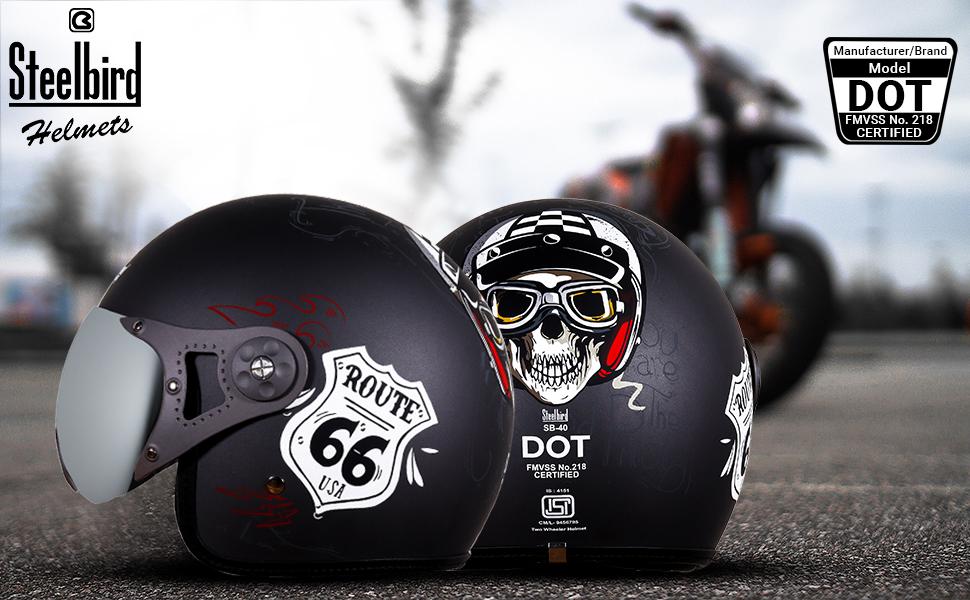 dot certified, dot route 66, 66, open face helmet, graphics helmets