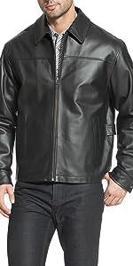 "BGSD Men's ""Greg"" Open Bottom Zip Front Leather Jacket"