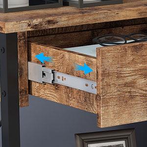 Table console industrielle haute marron rustique avec 2 étagères en maille