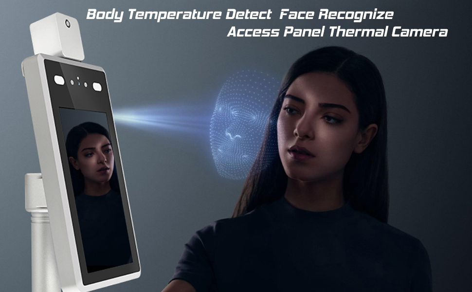 Face Recognition Temperature Measurement System Infrared Body Temperature Detection Scanner Access Control Punch Card Machine All-in-One Machine,Support face Comparison Library