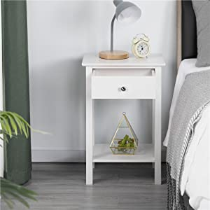 30 x 45 x 68 cm Tavolino dAppoggio con Cassetto e 2 ripiano in Legno Comodini da Notte Organizzatore da Letto Bianco Ruisyi Comodino per Camera da Letto