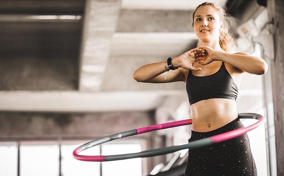 Br/ûler des Calories Adulte Cr/ête Ondul/ée Discra Cerceau Hula Hoop Fitness Sport Perte de Poids Plast Exercice de Taille 24 Pi/èces Peuvent Etre Assembl/ées et D/émont/ées par Vous-M/ême