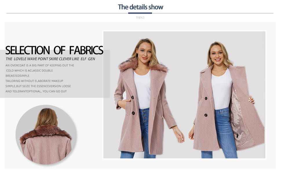 Bellivera Womens Faux Woolen Fleece Trench Coat The Overcoat with Detachable Fur Collar