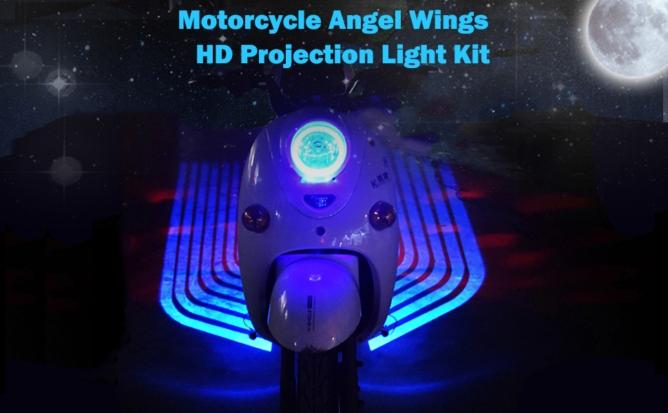 blue motorcycle projector lights