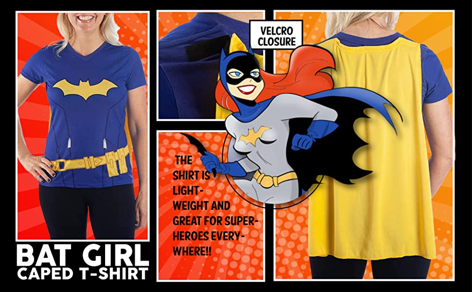DC Comics Superhero Cosplay Caped Junior Women's V-Neck T-shirt Holiday Christmas Gift