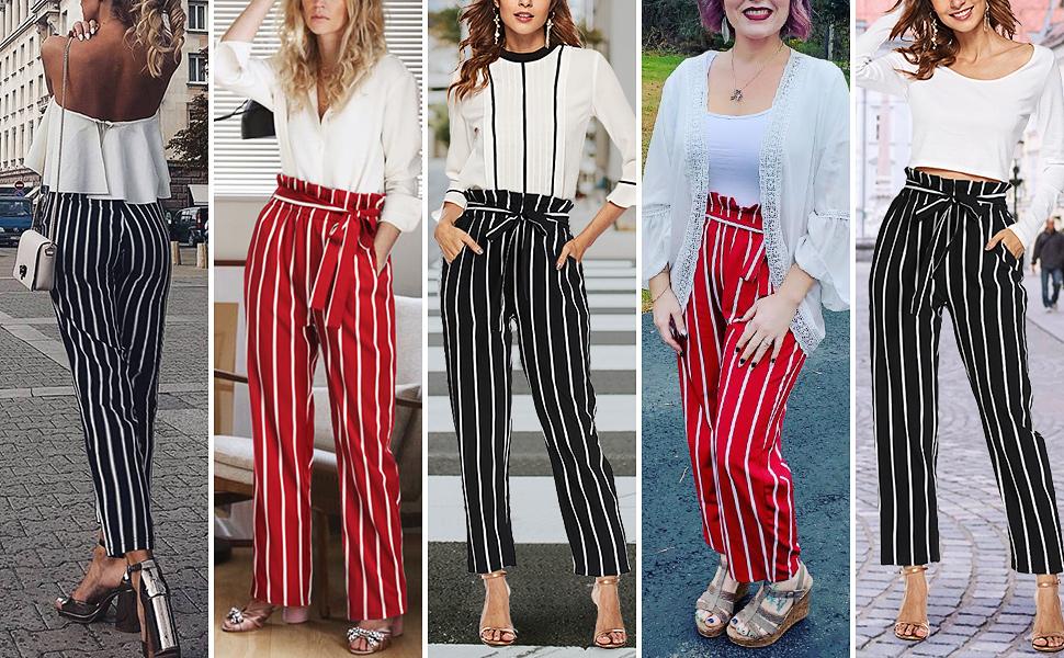 Amazon Com Pantalones A Rayas De Cintura Alta Para Mujer Informales Sueltos De Papel Con Bolsillos Clothing