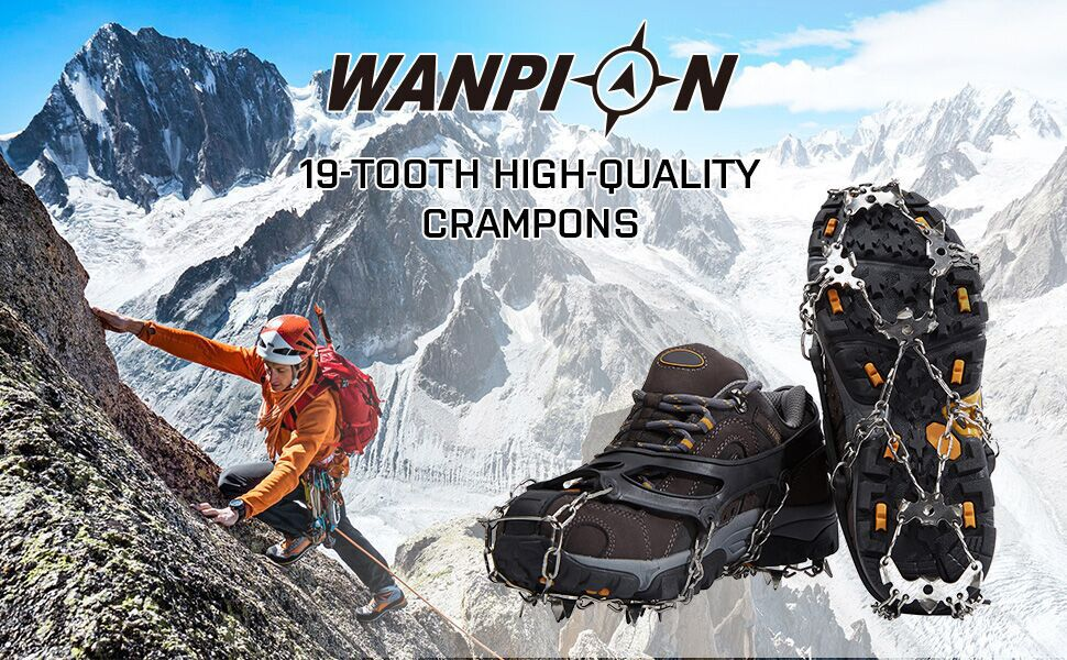 WANPION Traction Cleats Crampons Stainless Steel 19 Spikes Durable Rubber Safe Protect Shoes and Boots for Hiking Walking Jogging Climbing on Ice and Snow