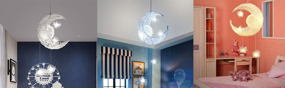 Plafonnier Fée Lampe Lune Étoiles Pendentif Lampe Chambre Lustre