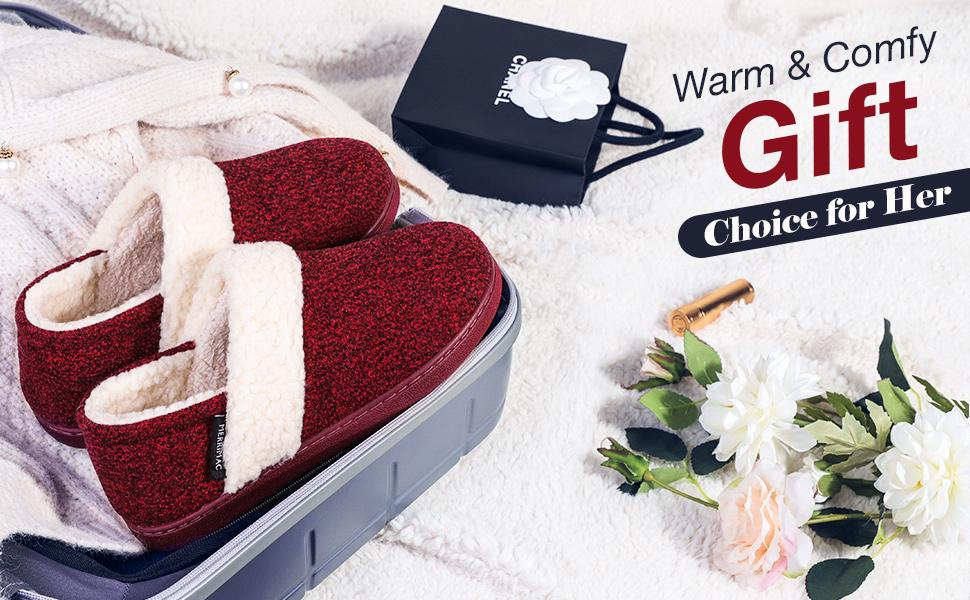 7-MERRIMAC Women's Hearth Fuzzy Memory Foam Closed Back Slipper Anti-Skid Breathable House Shoes