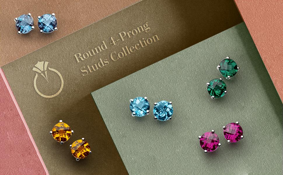 peora gemstone solitaire stud dainty earrings jewelry birthstone