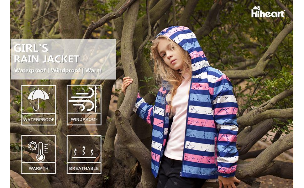 girls waterproof fleece lined jackets with hood