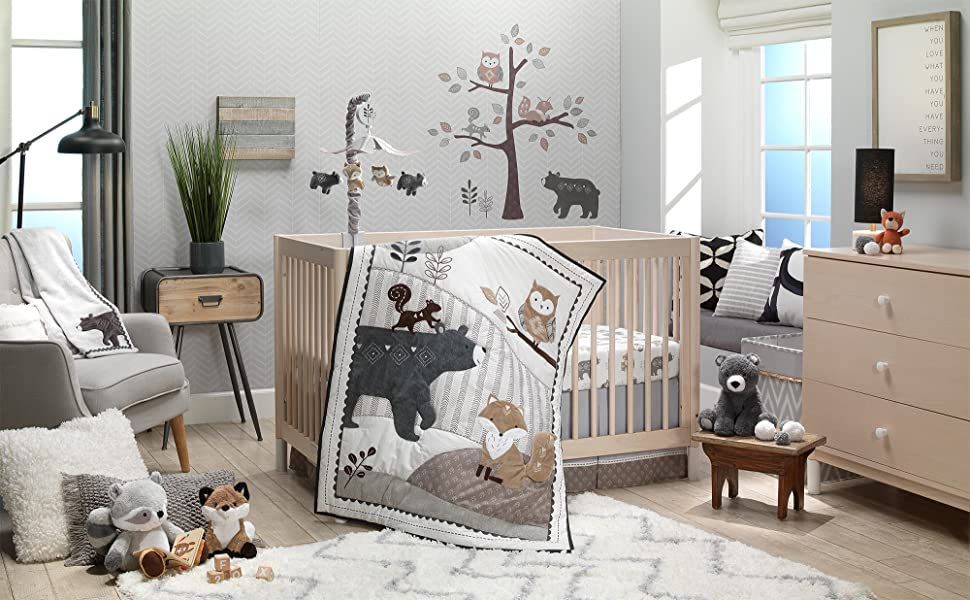 Woodland Forest Nursery with Musical Mobile