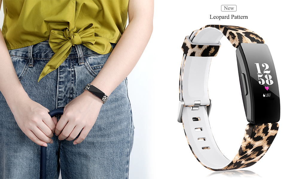 girl wearing the leopard pattern band for Fitbit Inspire HR