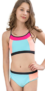 Girls Swimsuit Bright Color Block Size 5-16
