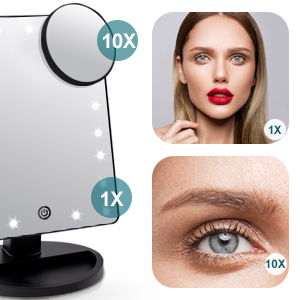 Makeup mirror with 10X magnification