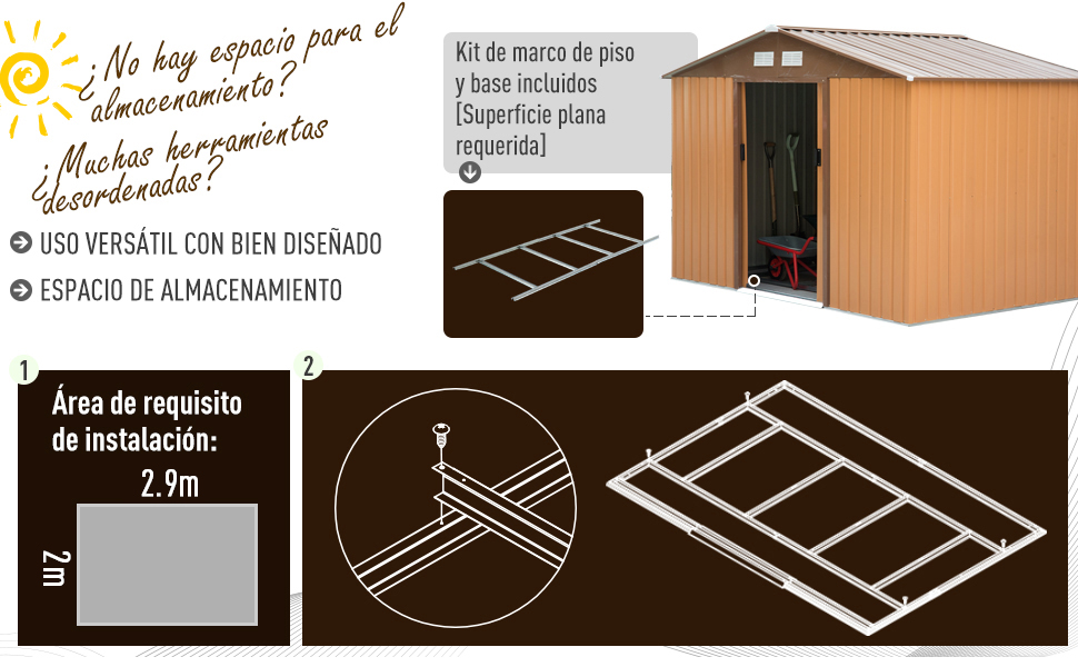 Outsunny Caseta de Jardín Tipo Cobertizo Metálico Ocre para ...