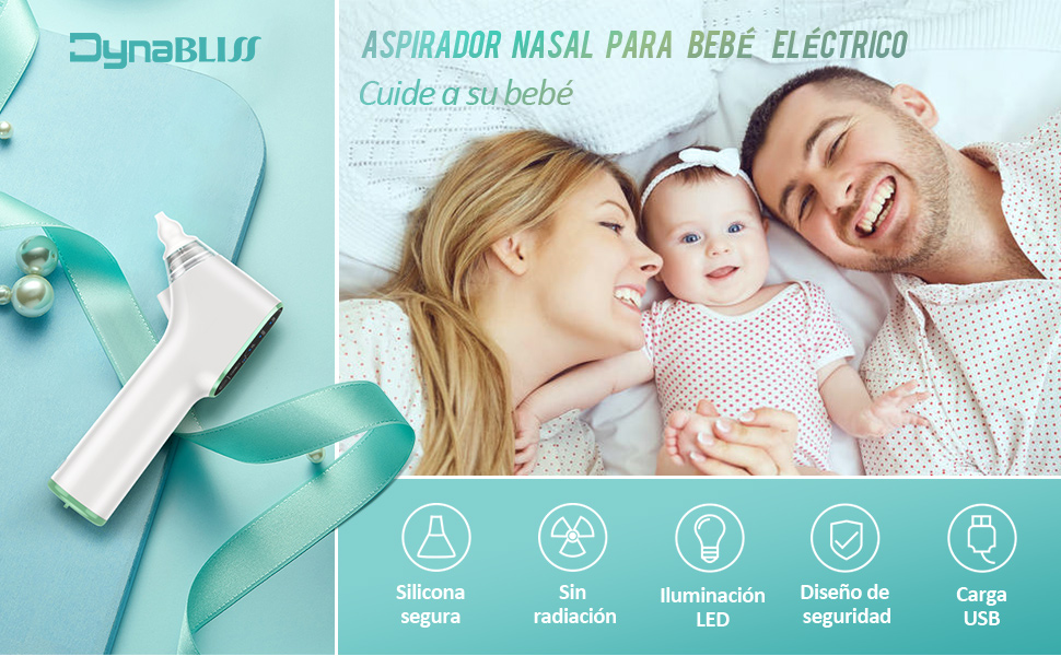 Aspirador Nasal Bebe Electrico, DynaBliss U8 de Carga USB con 3 Niveles de Succión 4 Tamaños con Puntas Nasales de Regalo, Frascos y Cepillo Limpio: Amazon.es: Bebé