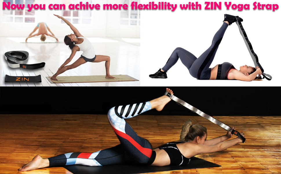 ZIN Stretching Strap- Resistance Exercise Band. Yoga Stretching Strap with Loops. Yoga Stretch Strap for Hamstring Stretcher, Exercise Yoga Strap for ...