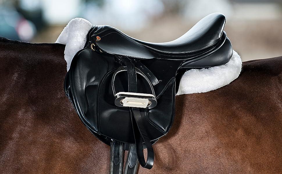Beauty shot of saddle on fur half pad