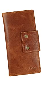 Sleek stylish Long Wallet with Passport cards coin secure rfid