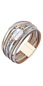 Baroque pearl leather bracelet